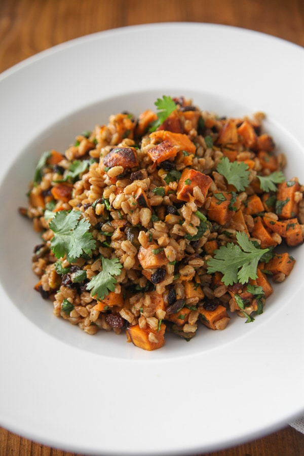 citrus curry farro salad