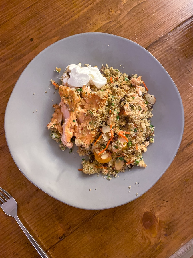 Plenty Apricot Salmon with Confetti Couscous