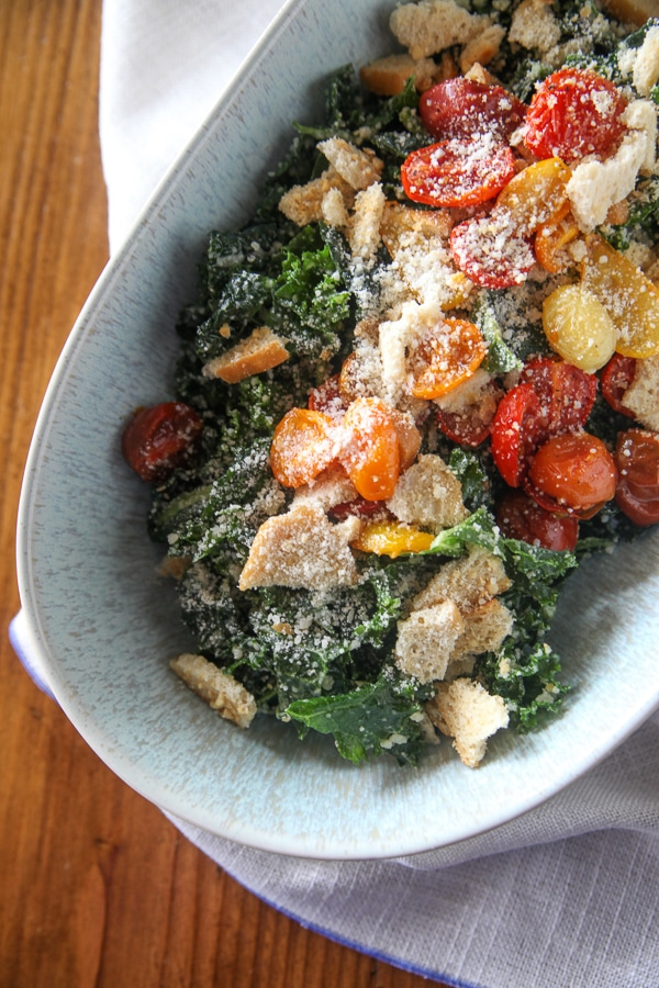 Massaged Kale Caesar with Homemade Dressing