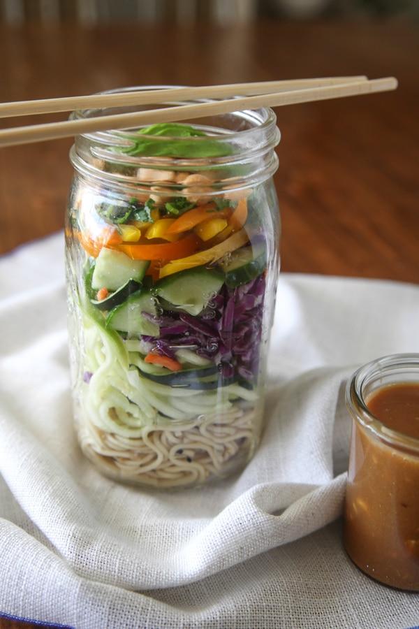 Thai crunch mason jar salad