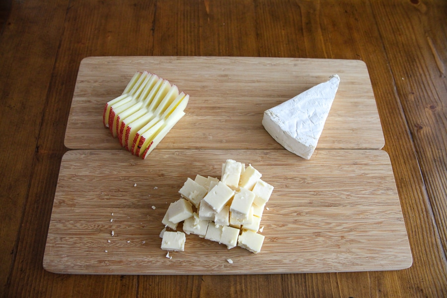 sliced cheese on cheese board - first step