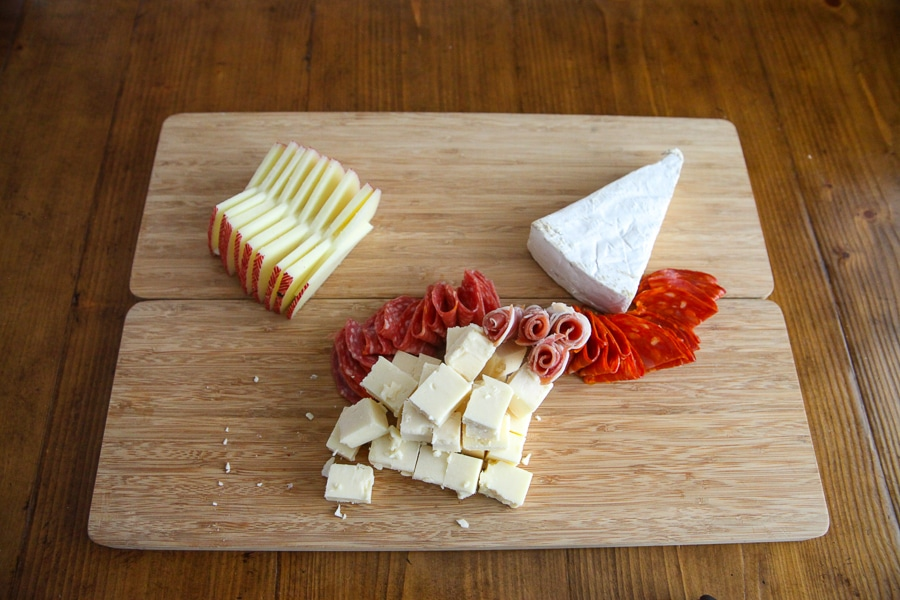 cheeses on board plus meats