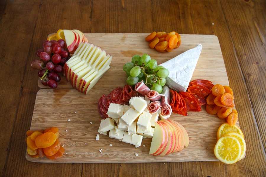 cheeses, meats, fresh and dried fruits