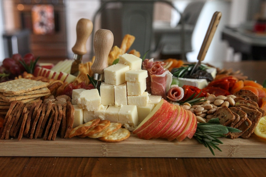 Thanksgiving Board cheese from the side