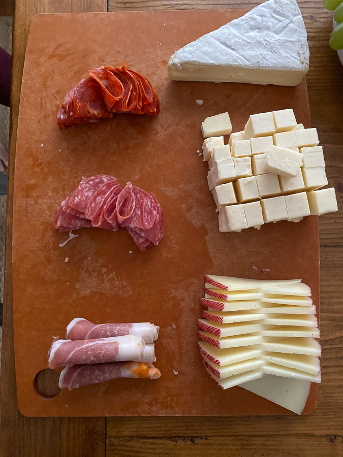 Thanksgiving Charcuterie Board meats and cheeses on board