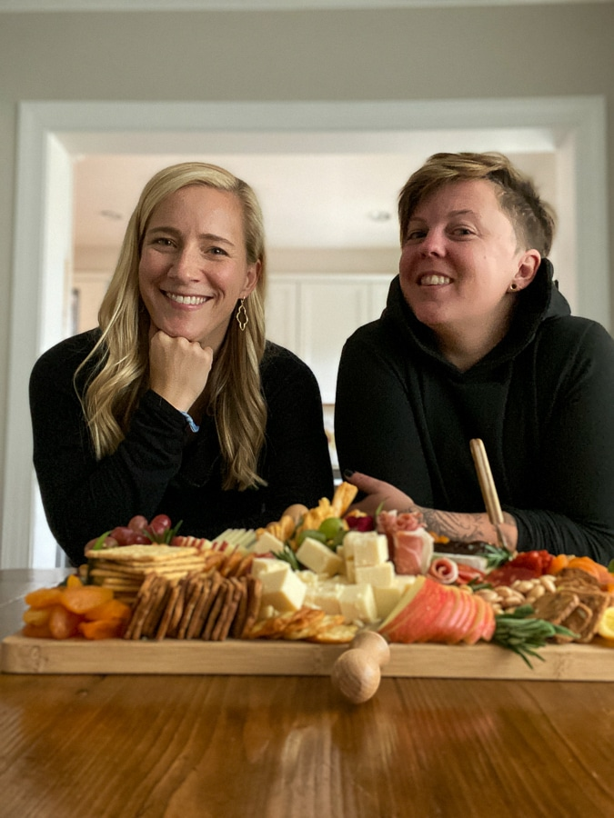 Kath and Della with cheese board