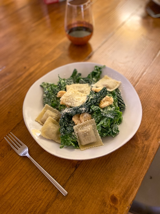 kale salad and ravioli