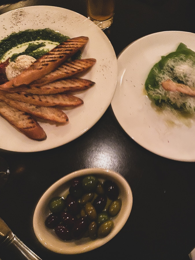 Burrata + salad + olives
