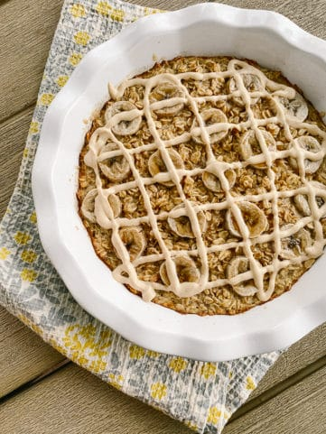 Baked banana oatmeal with peanut butter frosting