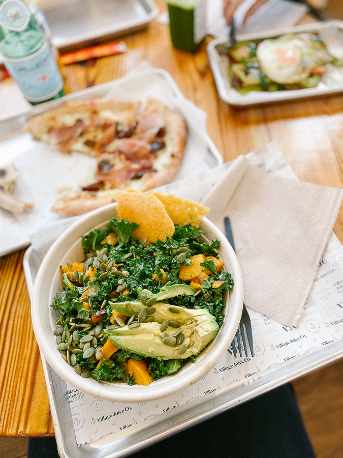 kale salad and pizza