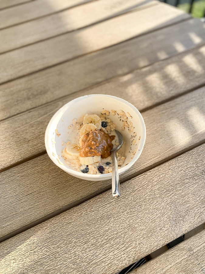 Overnight oats with banana, blueberries and almond butter