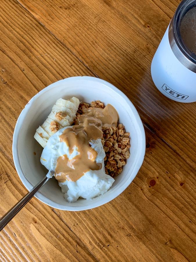 yogurt with granola almond butter and banana