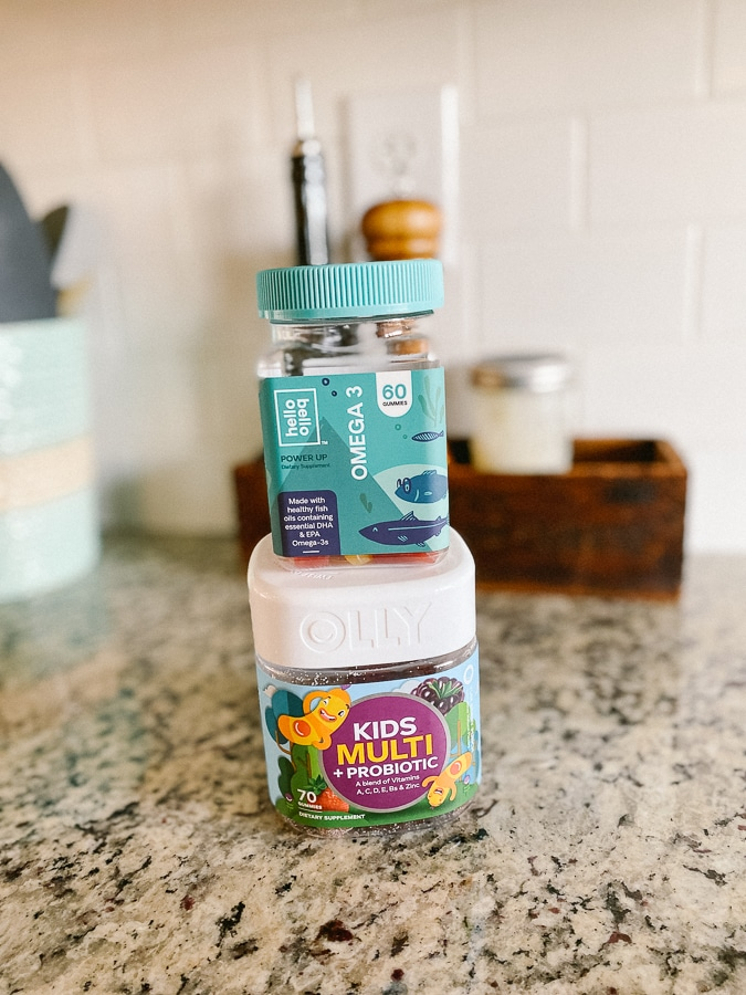 Olly Kids with Probiotic and Hello Bello's Omega-3 and Immunity gummies