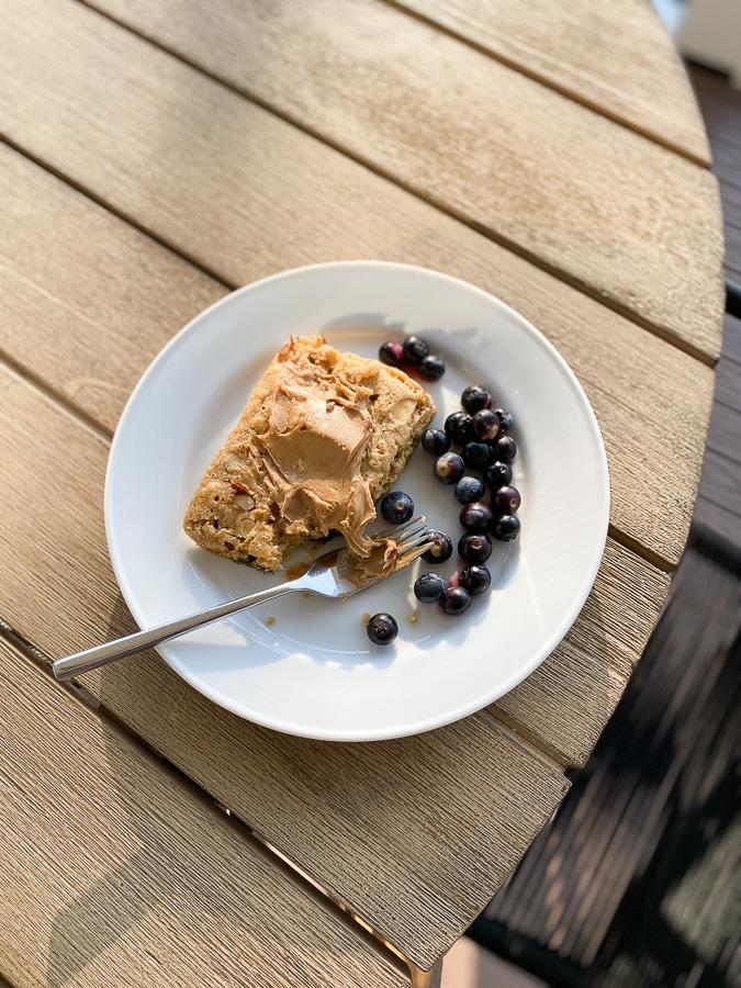 Sheet pan pancake with peanut butter + blueberries
