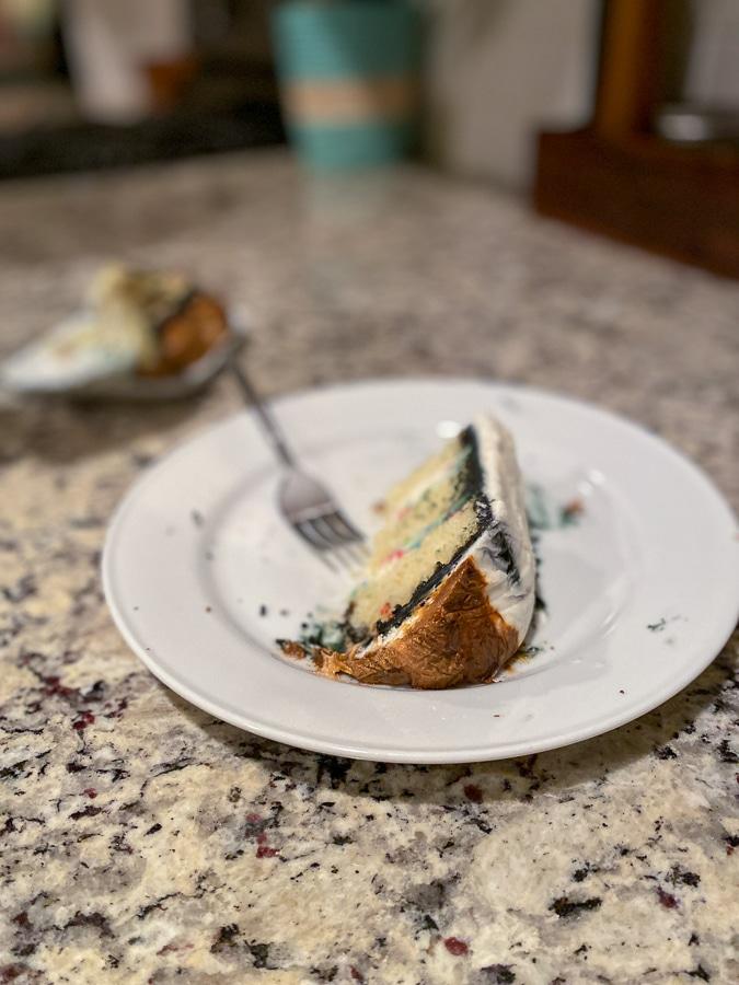 Birch's birthday cake from the freezer!