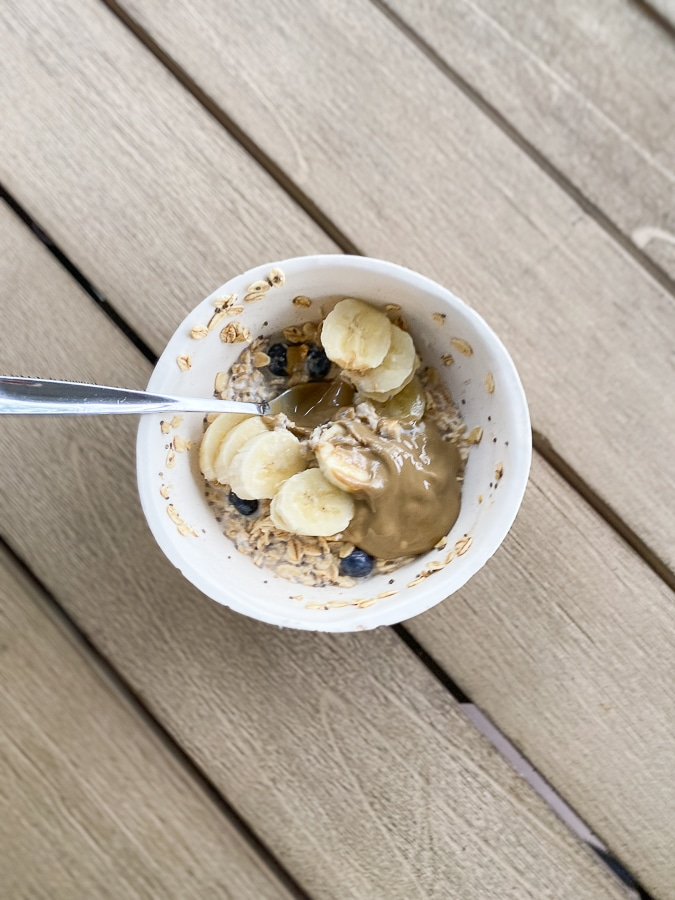 Overnight oats with blueberries and sunflower butter.