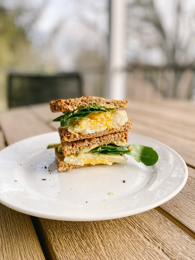 scrambled egg sandwich from the side