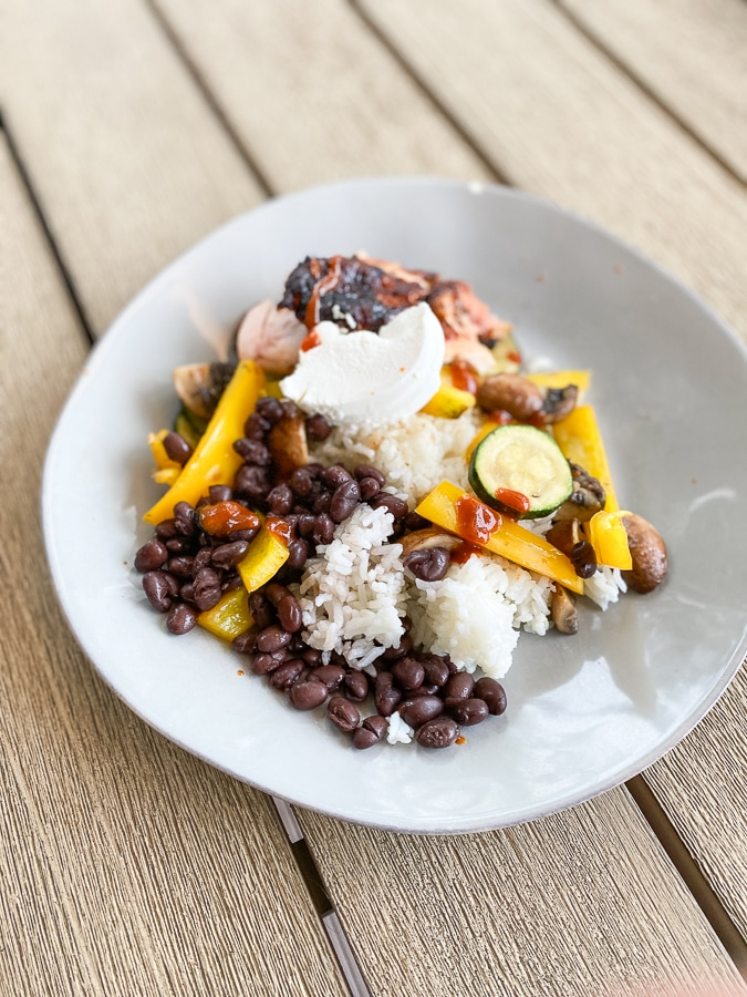 black beans and rice with sauteed veggies