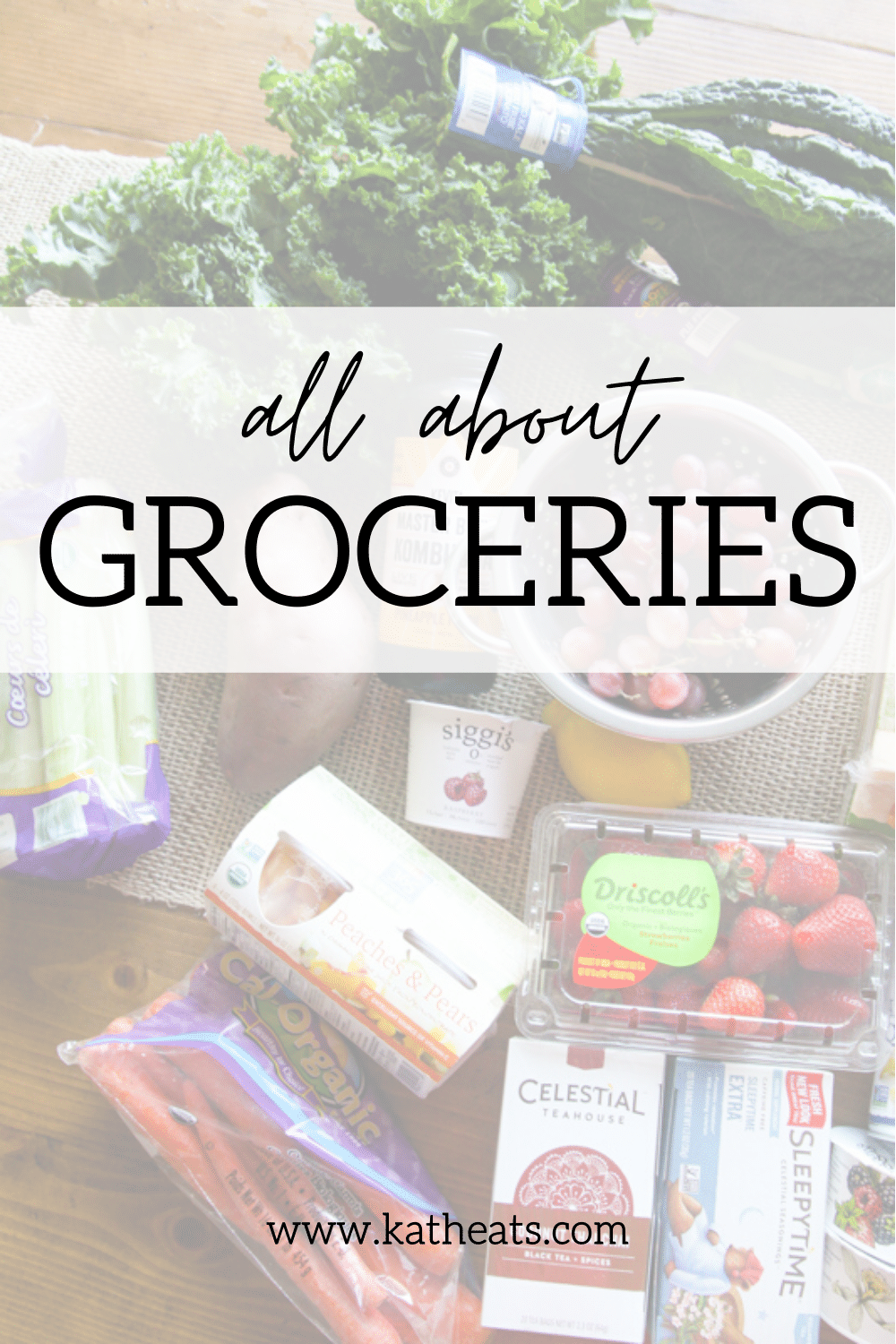 All About Groceries: overhead shot of groceries with text overlay.