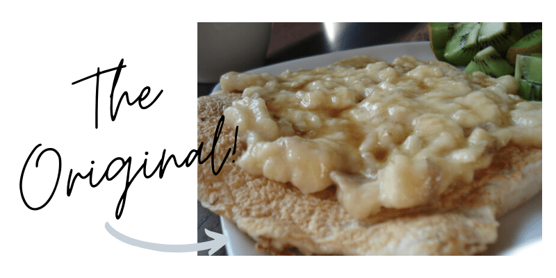 Oatmeal pancake with mashed banana graphic