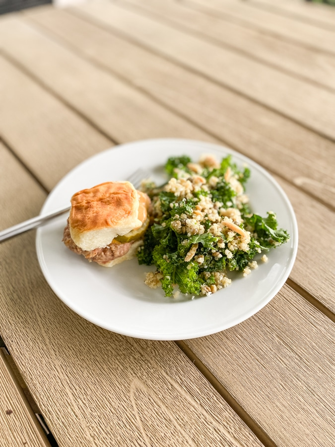 Slider + quinoa and kale with lentils from Plenty