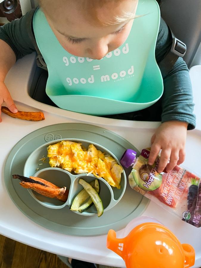 Cheesy eggs, sweet potato wedges