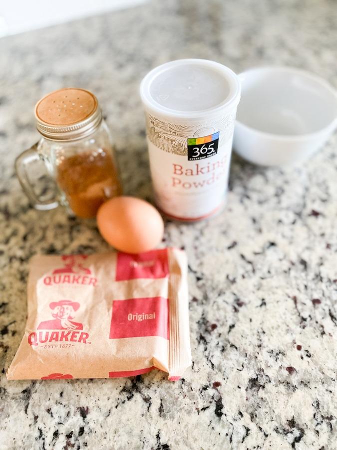 Oatmeal pancake ingredients on countertop