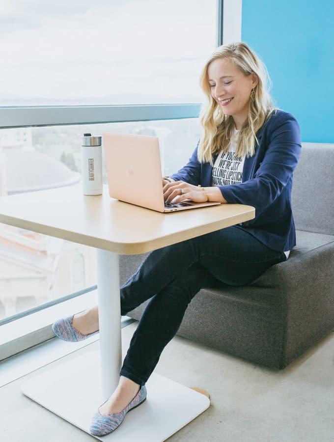 Kath at a computer