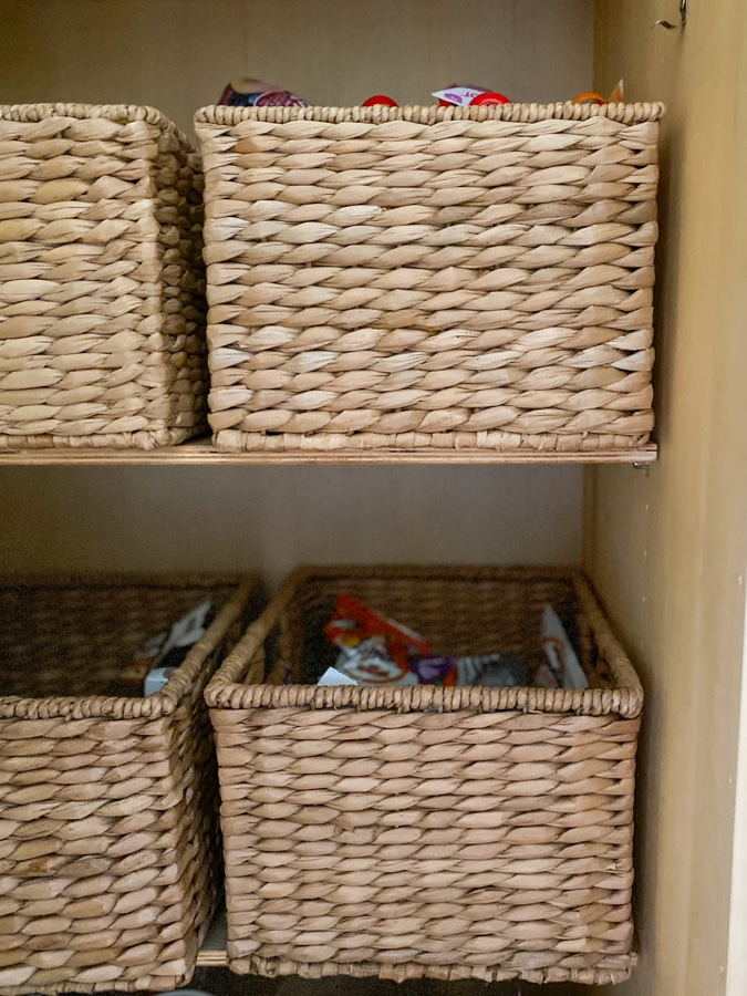 baskets in a pantry looking neat