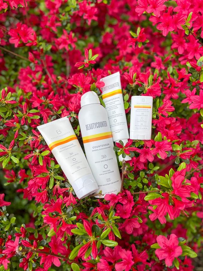 Countersun sunscreen on an azalea bush