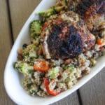 grilled chicken over hot honey quinoa salad