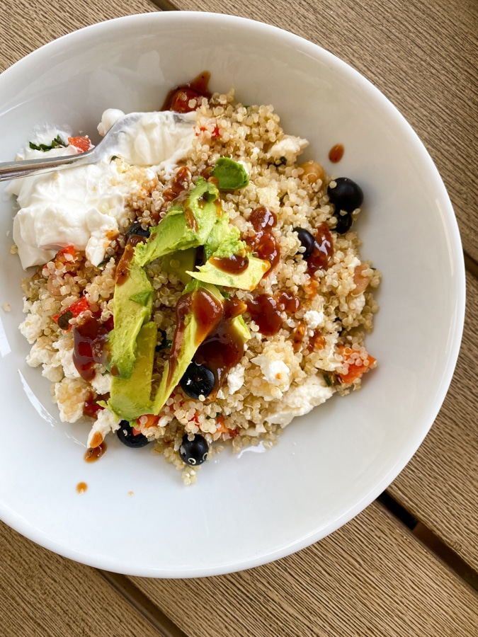 quinoa salad with avocado and yogurt