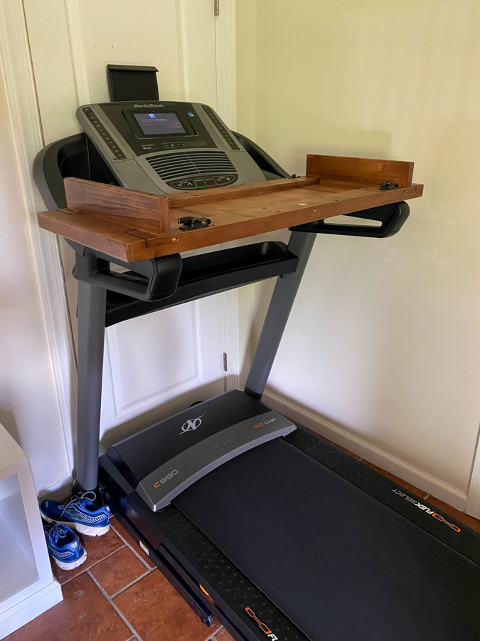 walking desk on treadmill DIY