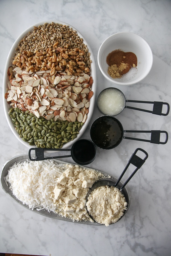 ingredients for nutty almond granola