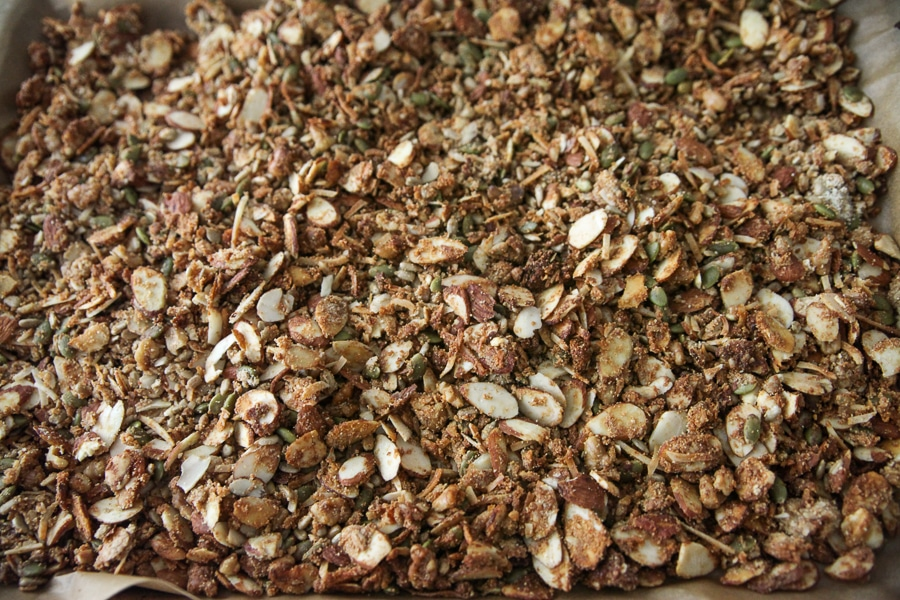 granola toasted on a sheet pan from aboe