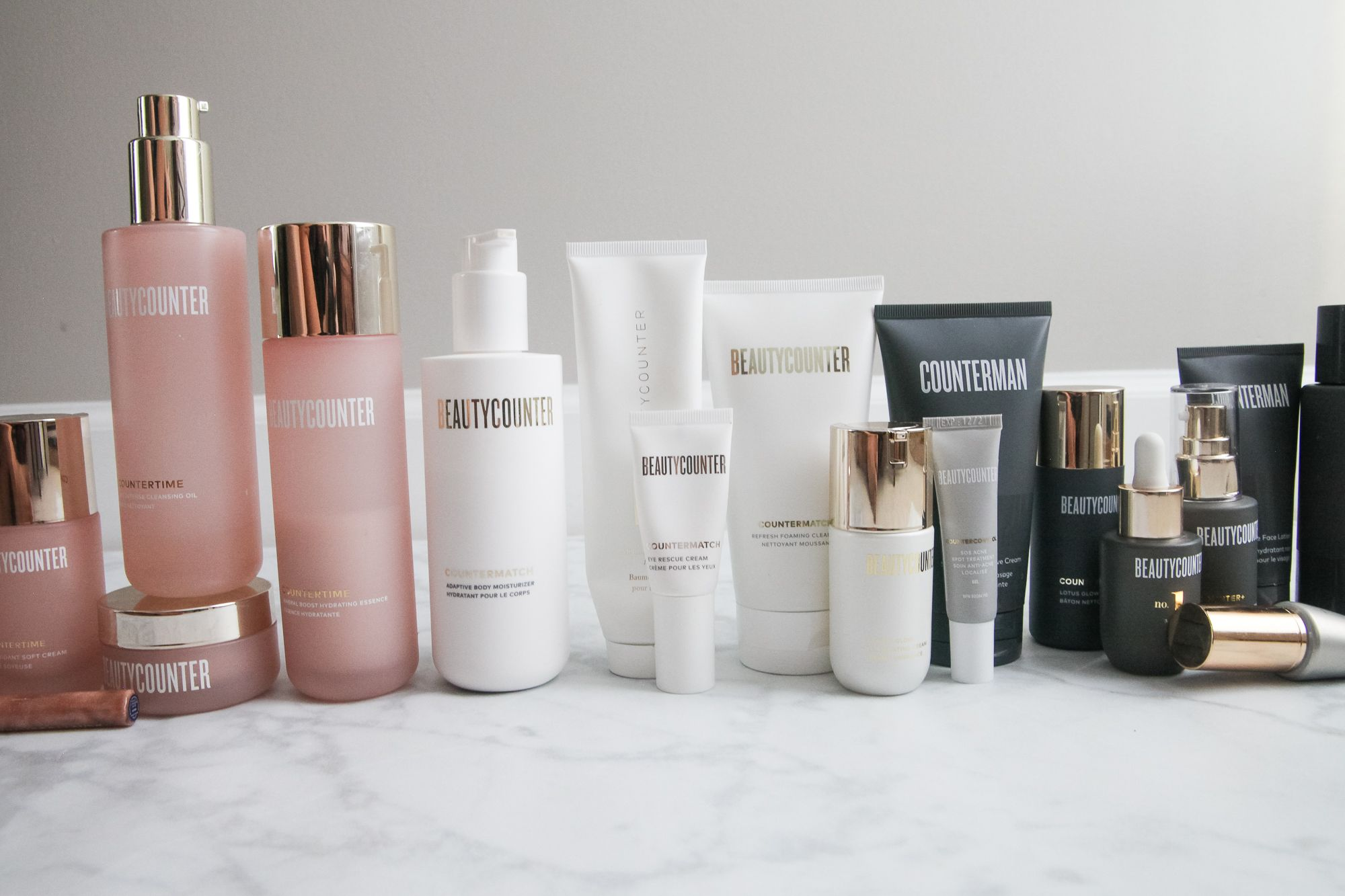 long row of beautycounter products