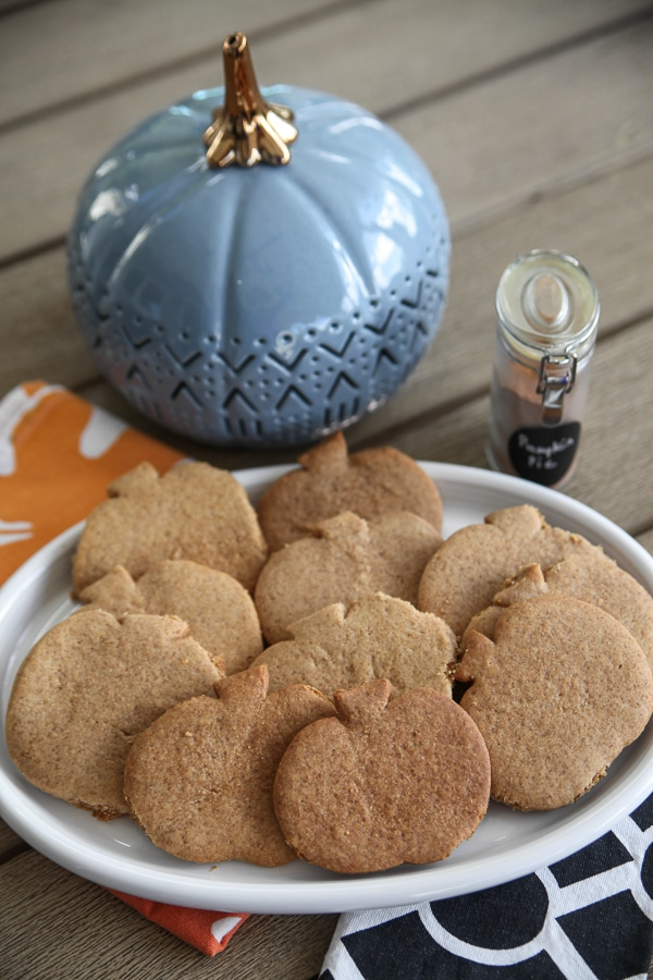 pumpkin cookies with a big gray pumpkin in the background and pumpkin spice