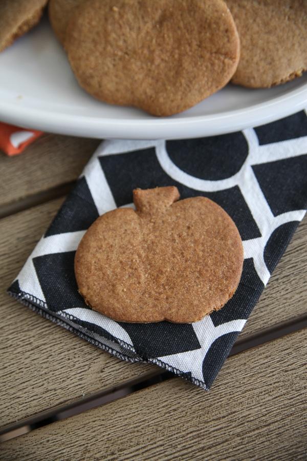 pumpkin graham cracker on a napkin