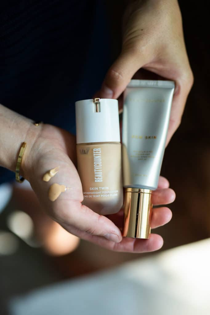 Dew skin and skin twin from beautycounter in hands