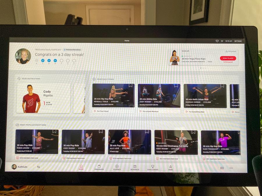 Peloton app screen class view