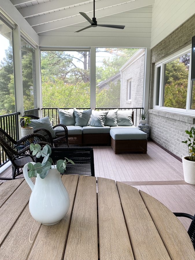 Shiplap Screened Porch with Pottery Barn outdoor furniture.