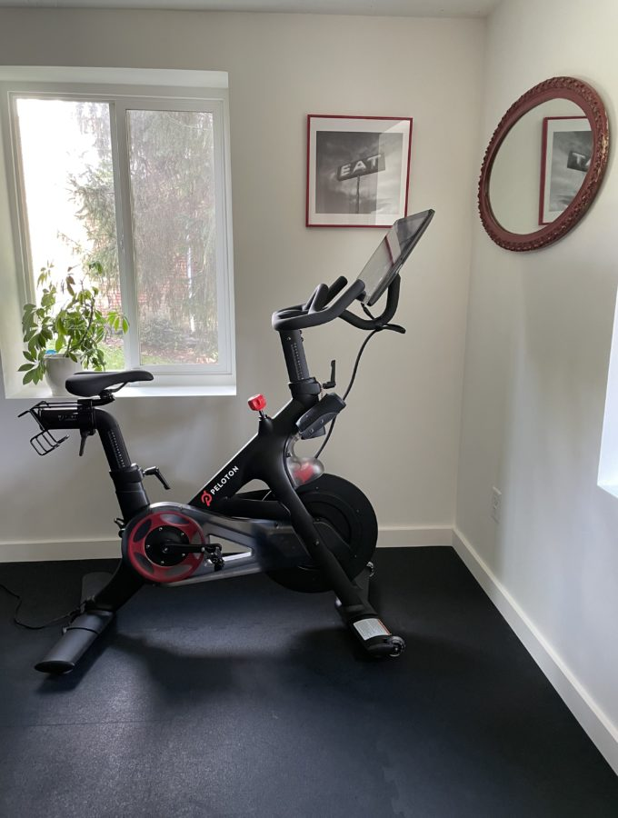 Peloton bike in fitness room