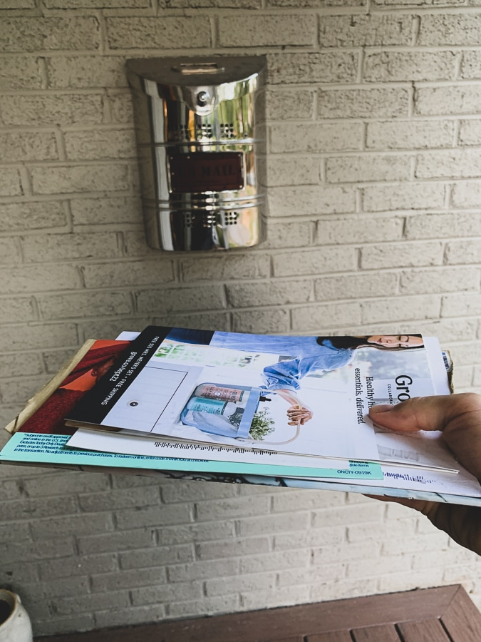 Stack of mail.