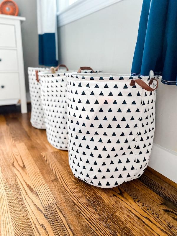 Cloth toy storage bins from Amazon.