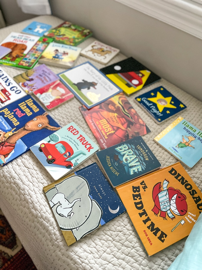 kids books on a bed