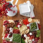 holiday cheese board on a dining table