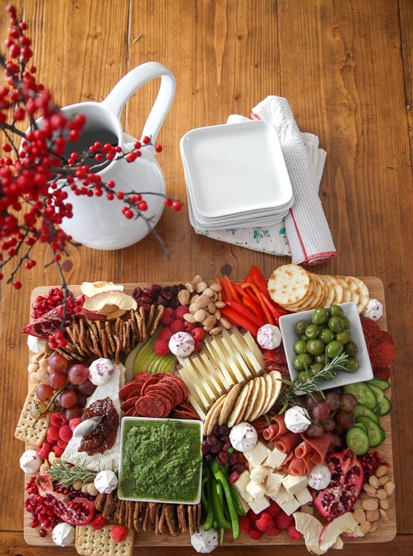 Christmas charcuterie board from above