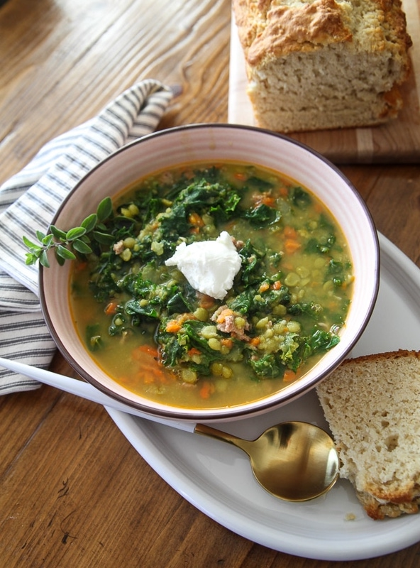 split pea soup with beer bread