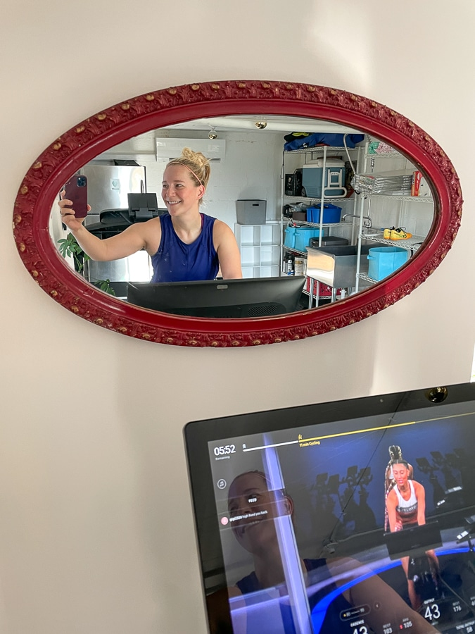 peloton screen in mirror