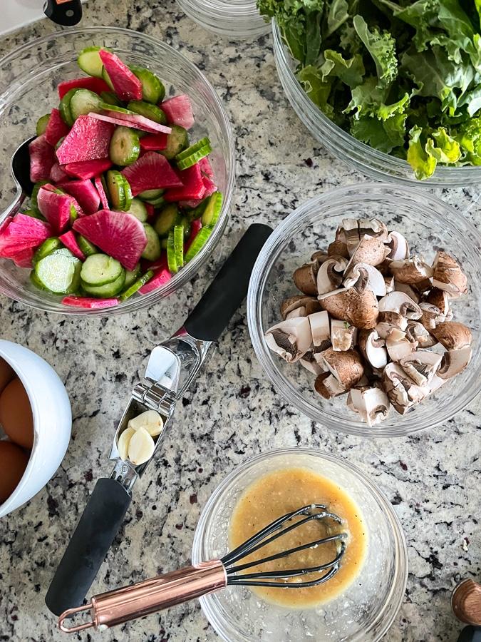 ingredients for Blue Apron radish bowls